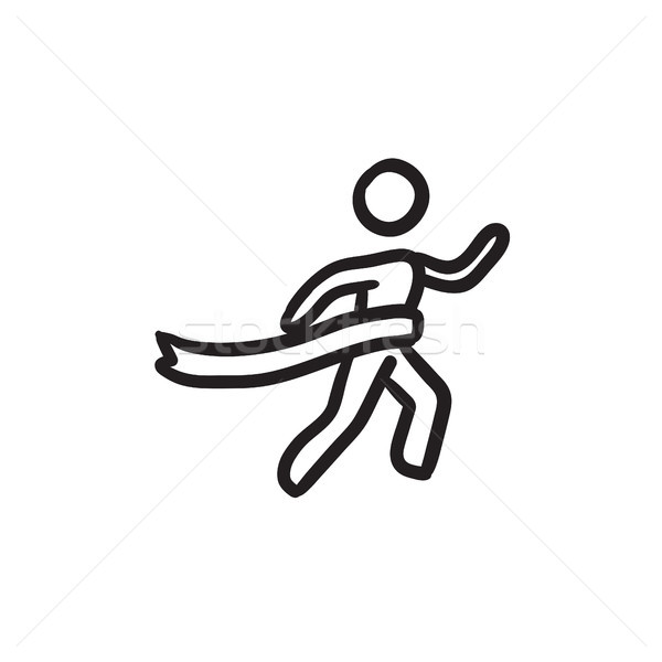 Winner crossing finish sketch icon. Stock photo © RAStudio