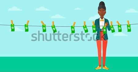 Nő pénz üzletasszony bankjegyek ruhaszárító kék ég Stock fotó © RAStudio