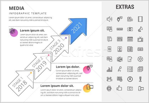 Média infografika sablon elemek ikonok idővonal Stock fotó © RAStudio