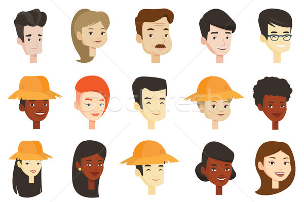 Vector set of multicultural women and men. Stock photo © RAStudio