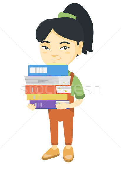 Asian school child holding pile of textbooks. Stock photo © RAStudio