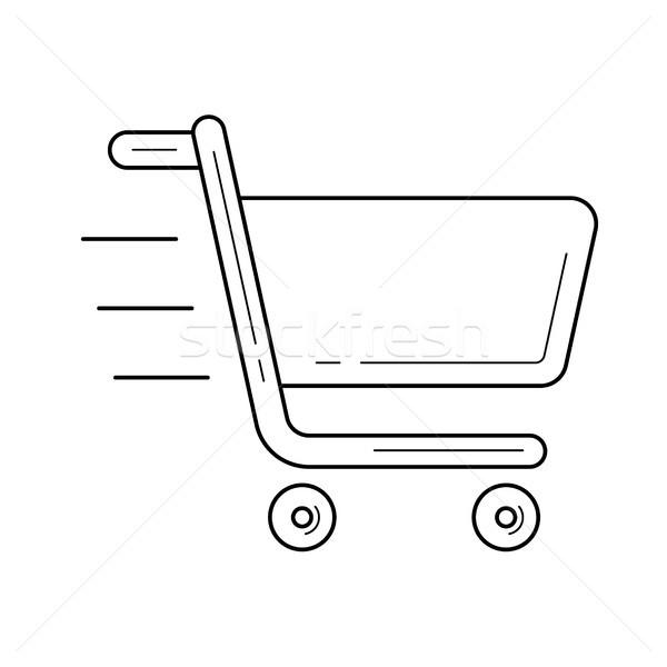 Winkelwagen lijn icon vector geïsoleerd witte Stockfoto © RAStudio