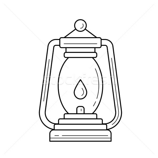 Kempingezés lámpás vonal ikon vektor izolált Stock fotó © RAStudio