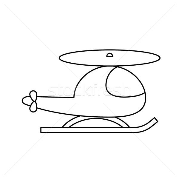 вертолета линия икона вектора изолированный белый Сток-фото © RAStudio