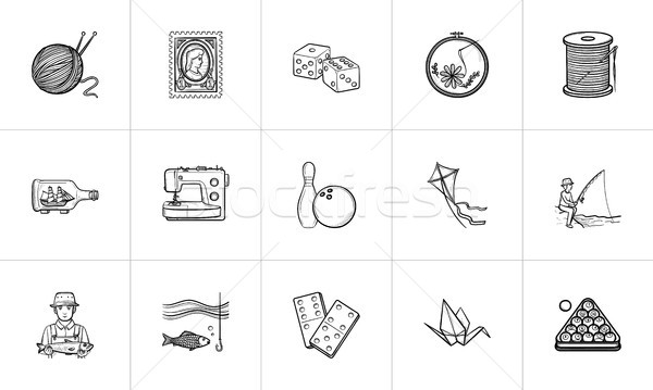 Hobby hand drawn sketch icon set. Stock photo © RAStudio