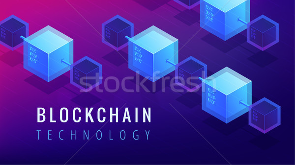 Isometric blockchain technology concept. Stock photo © RAStudio