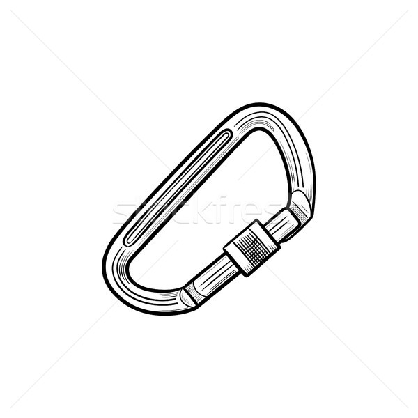 Climbing carabiner hand drawn outline doodle icon. Stock photo © RAStudio