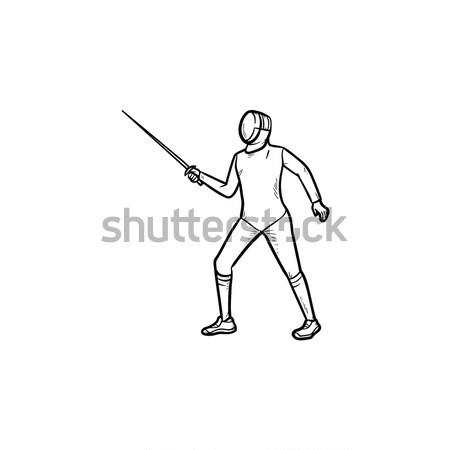 Man skateboarding hand drawn outline doodle icon. Stock photo © RAStudio