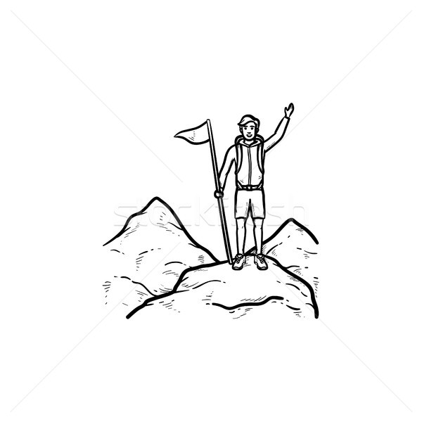 Climber with flag standing on mountain top hand drawn outline doodle icon. Stock photo © RAStudio