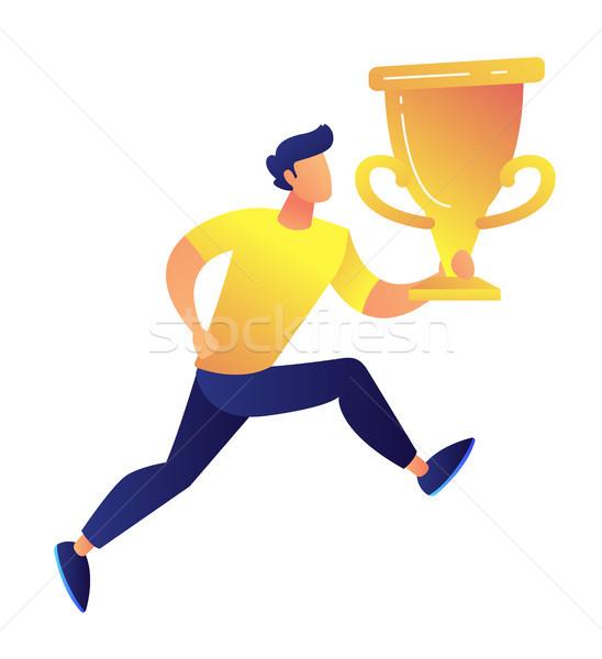 Stock fotó: Sportoló · tart · nagy · arany · trófea · csésze