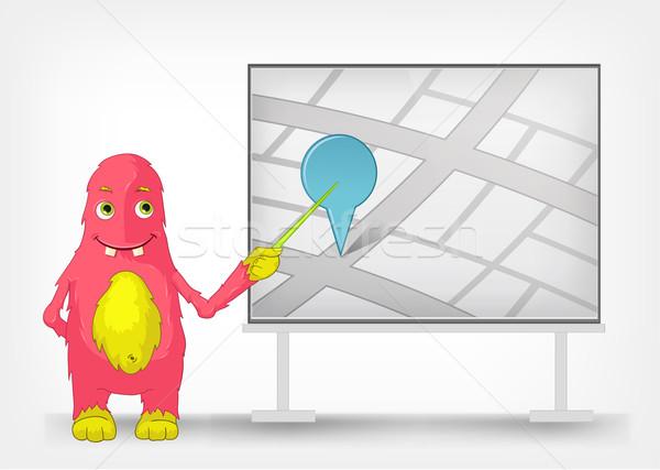 Funny potwora odizolowany szary gradient Zdjęcia stock © RAStudio
