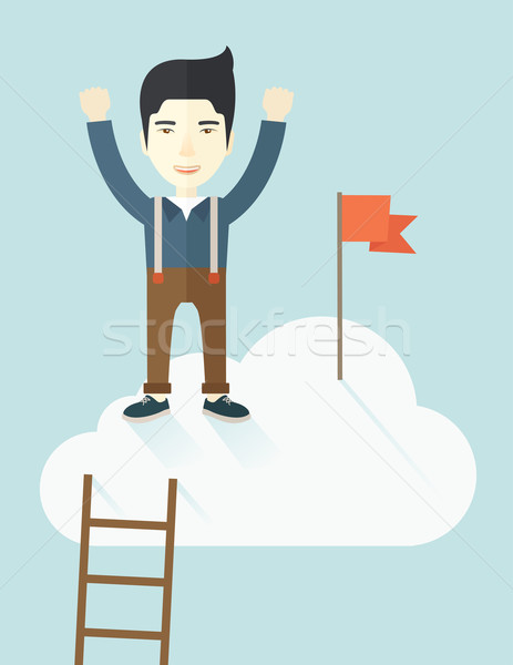 Asian man standing on the top of cloud with red flag. Stock photo © RAStudio