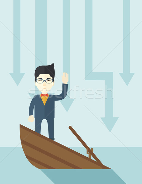 Failure chinese businessman standing on a sinking boat. Stock photo © RAStudio
