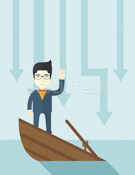 Ausfall chinesisch Geschäftsmann stehen Untergang Boot Stock foto © RAStudio