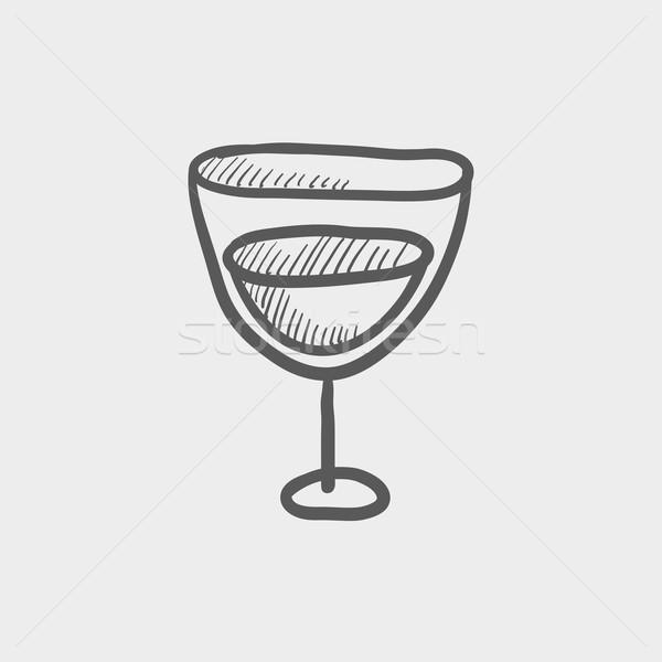 Vidro vinho esboço ícone teia móvel Foto stock © RAStudio