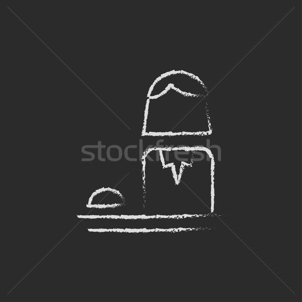 Female receptionist icon drawn in chalk. Stock photo © RAStudio