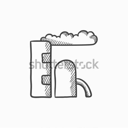 Rafineri bitki ikon tebeşir Stok fotoğraf © RAStudio