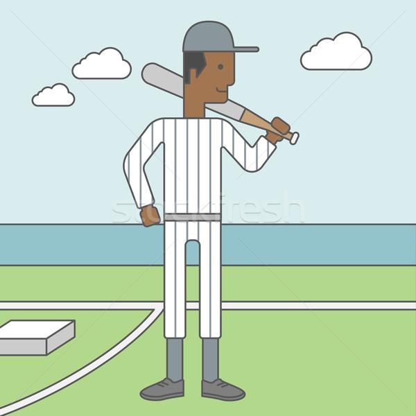 Jogador de beisebol homem em pé bat campo vetor Foto stock © RAStudio