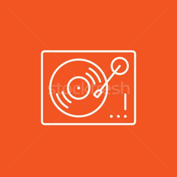 Draaitafel lijn icon web mobiele infographics Stockfoto © RAStudio