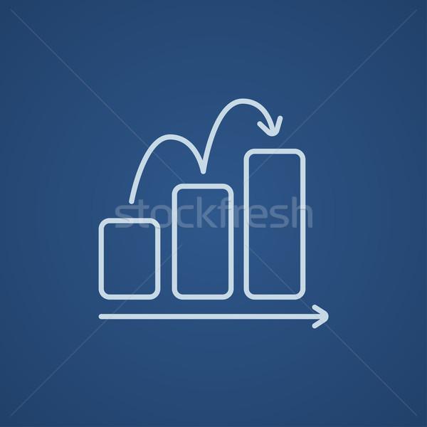 Graphique à barres ligne icône web mobiles infographie Photo stock © RAStudio
