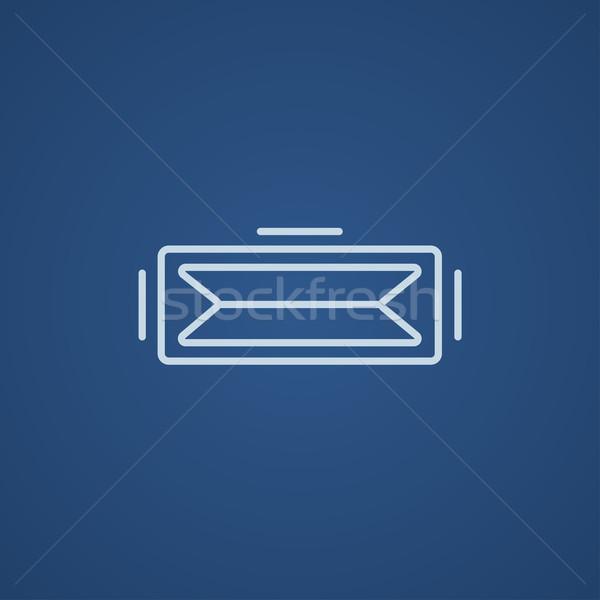 Virtueel realiteit hoofdtelefoon lijn icon web Stockfoto © RAStudio
