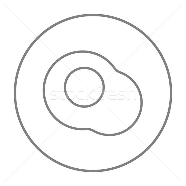 Ovo frito linha ícone teia móvel infográficos Foto stock © RAStudio