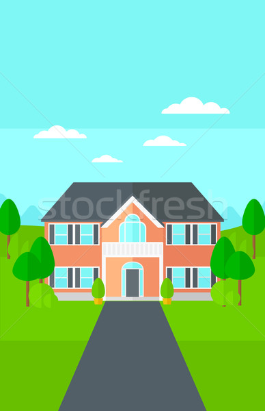 дома красивой пейзаж дорога вектора дизайна Сток-фото © RAStudio