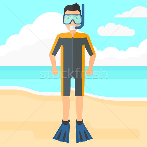 Man with swimming equipment. Stock photo © RAStudio