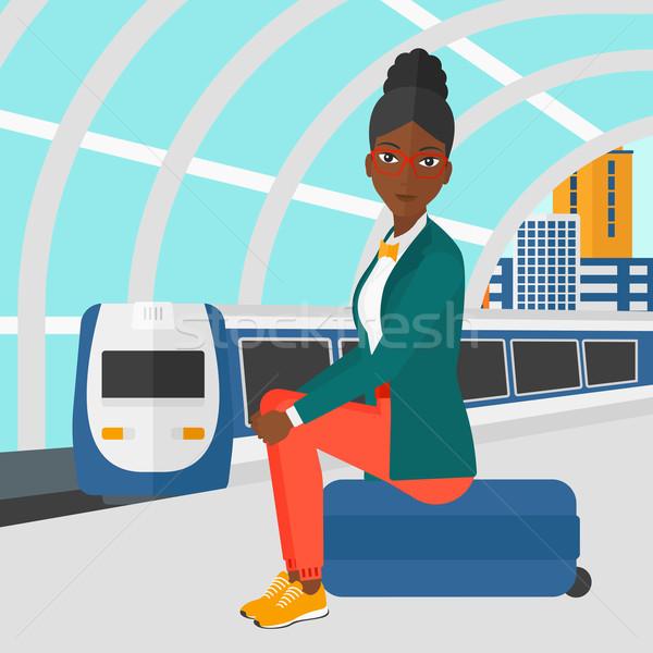 女性 座って 鉄道 プラットフォーム 現代 列車 ストックフォト © RAStudio