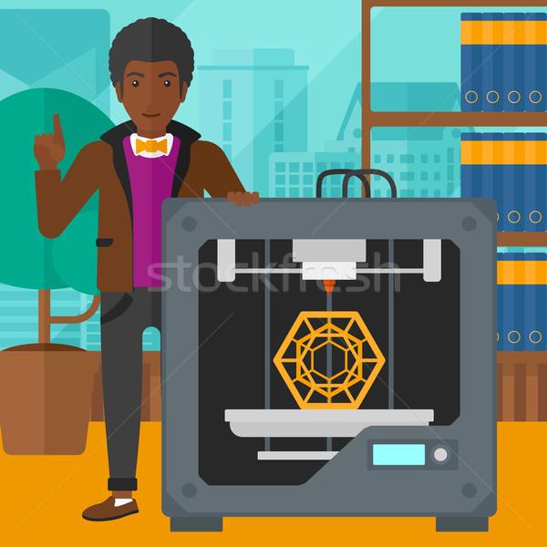 Homem três impressora em pé 3D indicação Foto stock © RAStudio