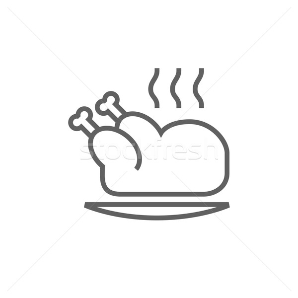 Całość kurczaka line ikona Zdjęcia stock © RAStudio