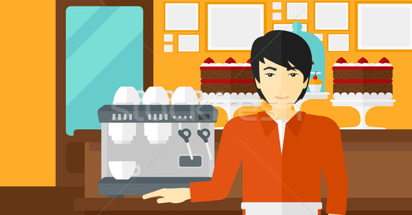 Бариста Постоянный кофеварка азиатских человека хлебобулочные Сток-фото © RAStudio