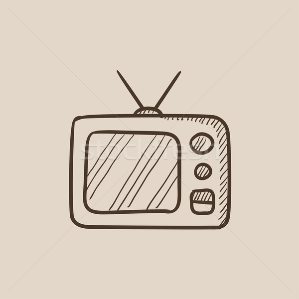 Retro television sketch icon. Stock photo © RAStudio