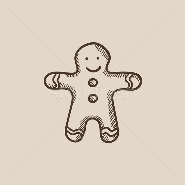 Gingerbread man kroki ikon web hareketli infographics Stok fotoğraf © RAStudio