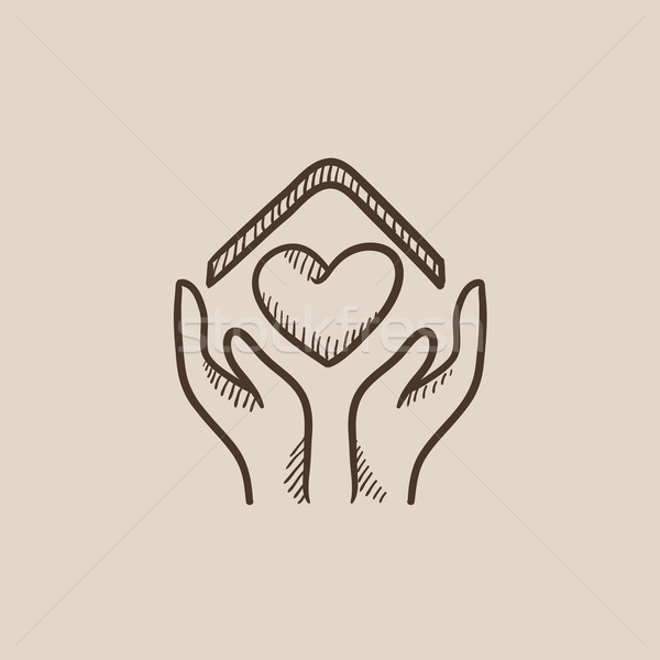 Hands holding house symbol with heart shape sketch icon. Stock photo © RAStudio