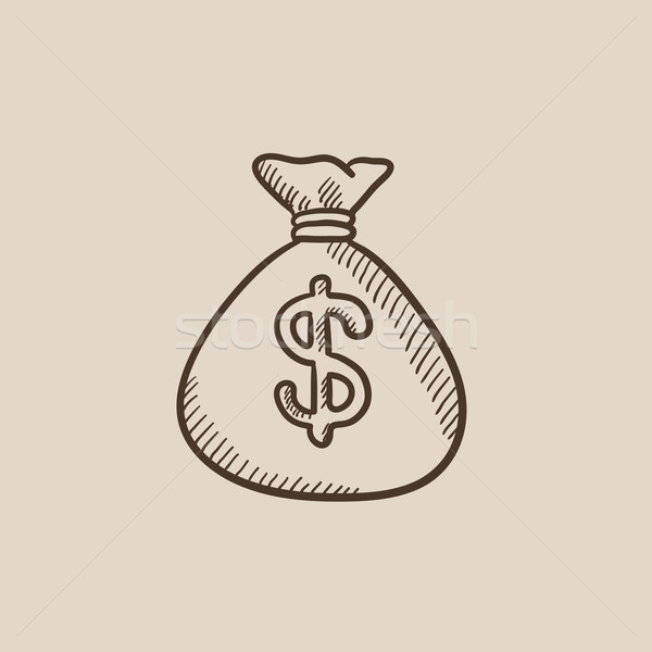 Pénz táska rajz ikon dollár szimbólum Stock fotó © RAStudio