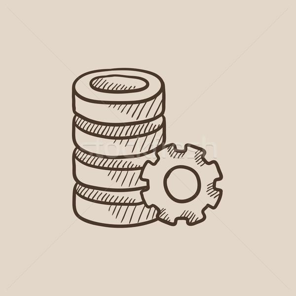 Szerver viselet rajz ikon háló mobil Stock fotó © RAStudio