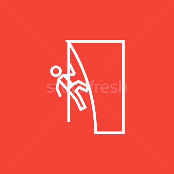 Kő vonal ikon mászik szirt sarkok Stock fotó © RAStudio