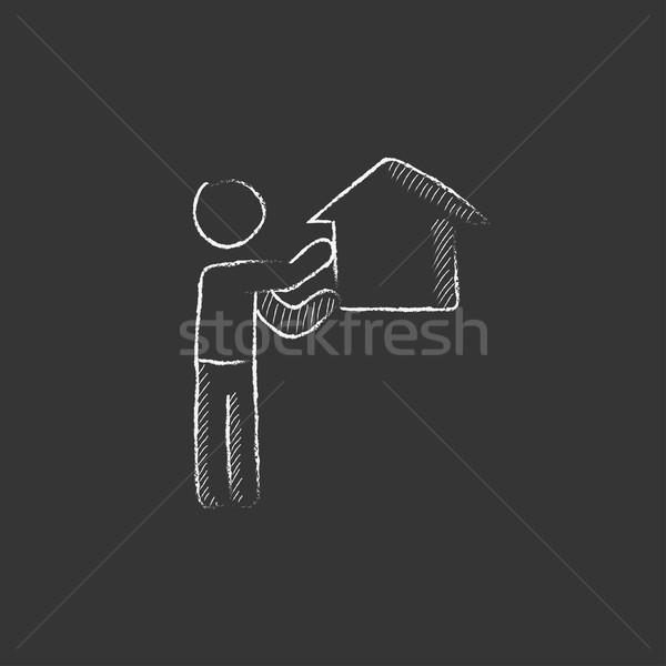Real estate agent. Drawn in chalk icon. Stock photo © RAStudio