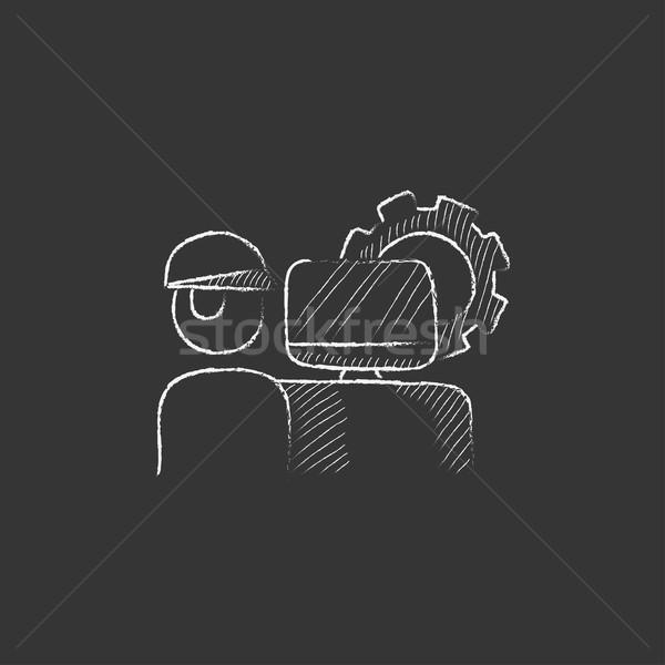 Computerized production. Drawn in chalk icon. Stock photo © RAStudio