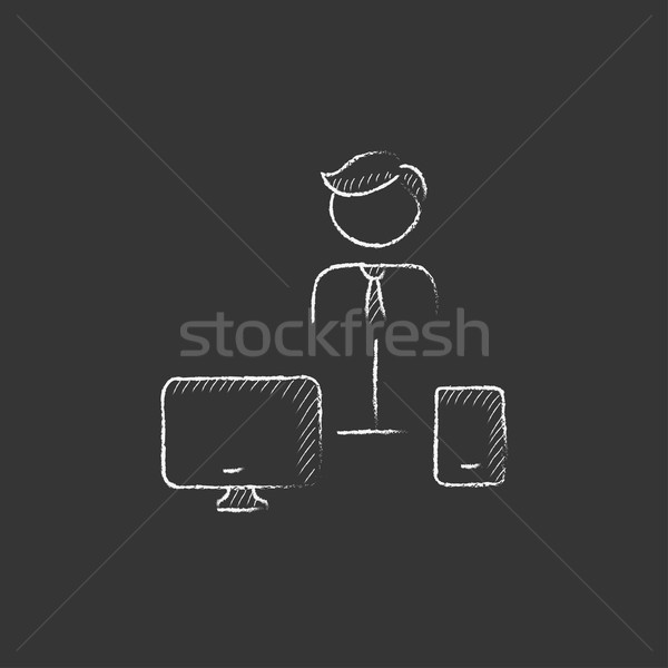 Man linked with computer and phone. Drawn in chalk icon. Stock photo © RAStudio