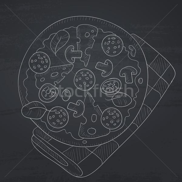 Lezzetli pizza salam mantar zeytin Stok fotoğraf © RAStudio