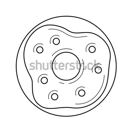 Stockfoto: Donut · schets · icon · vector · geïsoleerd