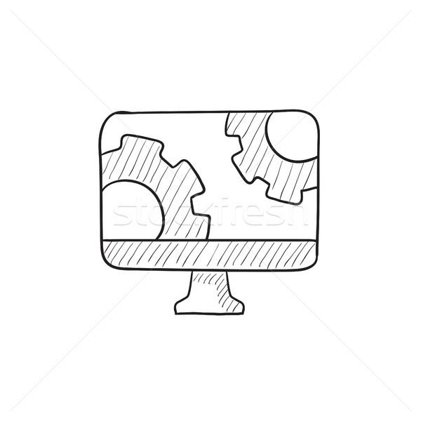コンピュータモニター 歯車 スケッチ アイコン ベクトル 孤立した ストックフォト © RAStudio