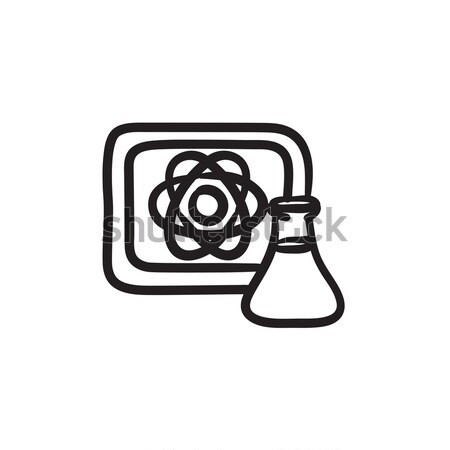 Atom sign drawn on board and flask sketch icon. Stock photo © RAStudio