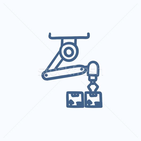 Robotachtige verpakking schets icon vector geïsoleerd Stockfoto © RAStudio