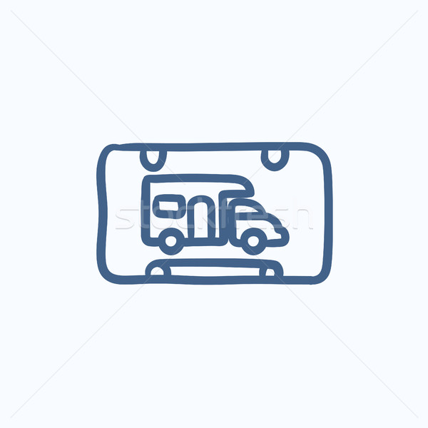 RV camping sign sketch icon. Stock photo © RAStudio