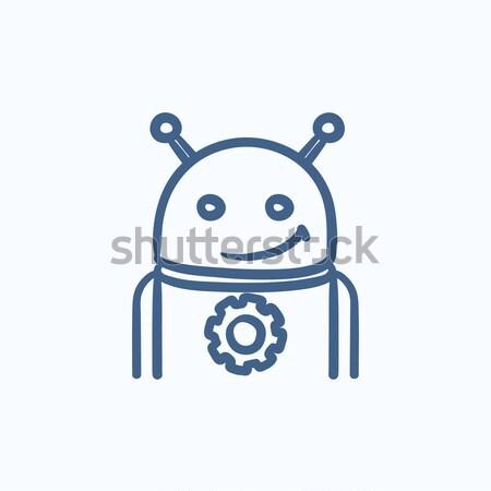 Robot with refresh sign sketch icon. Stock photo © RAStudio