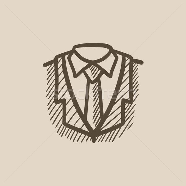Mannelijke pak schets icon vector geïsoleerd Stockfoto © RAStudio