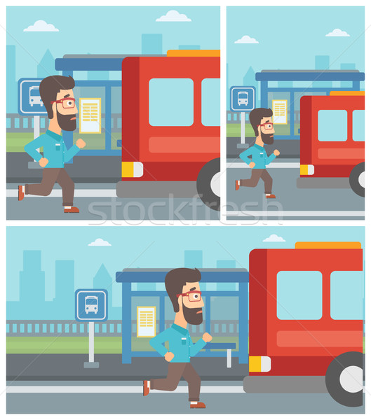 Stock photo: Latecomer man running for the bus.
